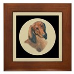 Longhaired Dachshund head stu Framed Tile