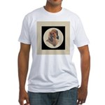 Longhaired Dachshund head stu Fitted T-Shirt