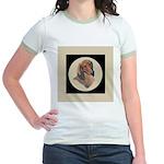 Longhaired Dachshund head stu Jr. Ringer T-Shirt