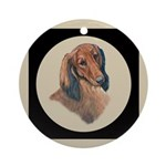 Longhaired Dachshund head stu Ornament (Round)