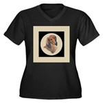 Longhaired Dachshund head stu Women's Plus Size V-