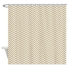 Tan Sand Color Chevron Pattern Shower Curtain