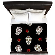 Sugar Skulls and Roses King Duvet