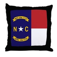 North Carolina Flag, NC State Flag Throw Pillow