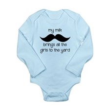 Milk Mustache Long Sleeve Infant Bodysuit