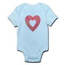 3-D Pink and Red Heart Onesie