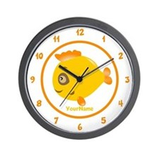 Yellow Fish Personalized Name Wall Clock