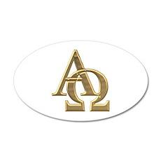"""3-D"" Golden Alpha and Omega Symbol 35x21 Oval Wal"