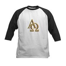 """3-D"" Golden Alpha and Omega Symbol Tee"