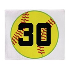 Softball Sports Player Number 30 Throw Blanket