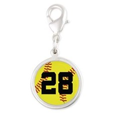 Softball Sports Player Number 28 Silver Round Char