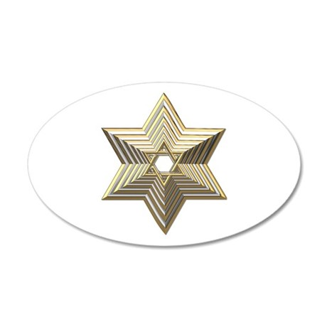3-D Silver and Gold Star of David 35x21 Oval Wall