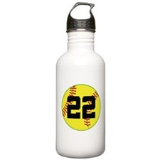 Softball Sports Player Number 22 Water Bottle