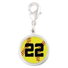 Softball Sports Player Number 22 Silver Round Char