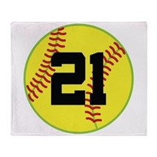 Softball Sports Player Number 21 Throw Blanket