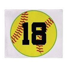 Softball Sports Player Number 18 Throw Blanket