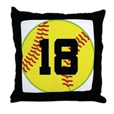 Softball Sports Player Number 18 Throw Pillow