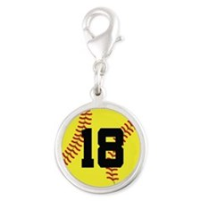 Softball Sports Player Number 18 Silver Round Char