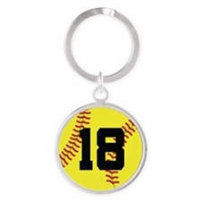 Softball Sports Player Number 18 Round Keychain