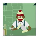 Sock Monkey Martini Bartender Tile Coaster