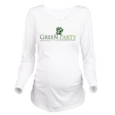 Cute Green party Long Sleeve Maternity T-Shirt
