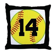 Softball Sports Player Number 14 Throw Pillow