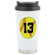 Softball Sports Player Number 13 Travel Mug