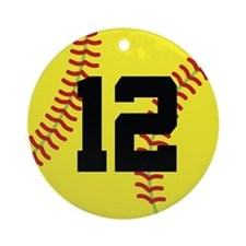 Softball Sports Player Number 12 Ornament (Round)