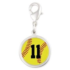 Softball Sports Player Number 11 Silver Round Char