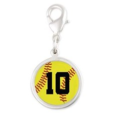 Softball Sports Player Number 10 Silver Round Char