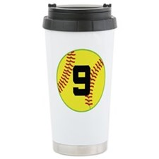 Softball Sports Player Number 9 Travel Mug