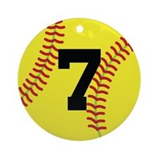 Softball Sports Player Number 7 Ornament (Round)
