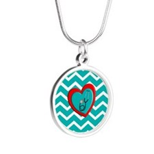 Nurse Medical Chevron Blue Necklaces