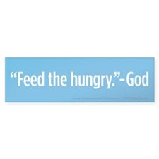 Feed The Hungry Bumper Sticker (Blue, 10 Pack)