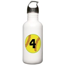 Softball Sports Player Number 4 Water Bottle