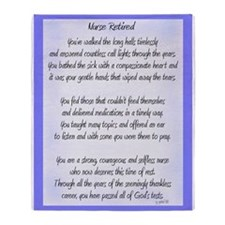 Nurse Retired Poem Blue Throw Blanket
