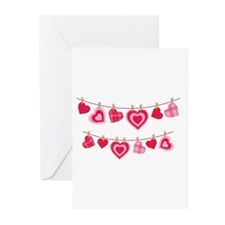 Doily Hearts Clothes Line Greeting Cards