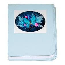 blue butterfly baby blanket
