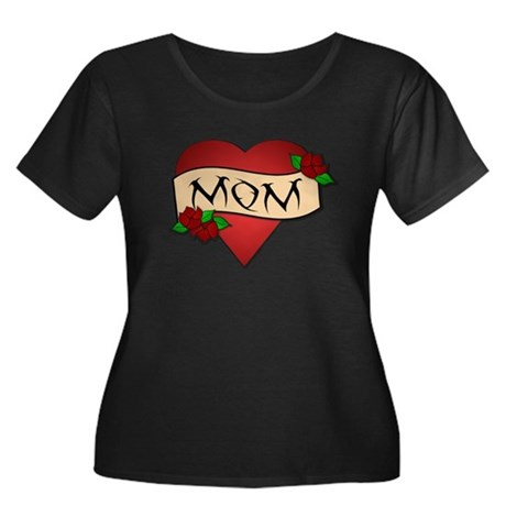 Mom Tattoo Women's Plus Size Scoop Neck Dark T-Shi
