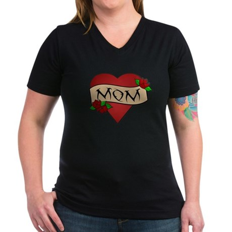 Mom Tattoo Women's V-Neck Dark T-Shirt