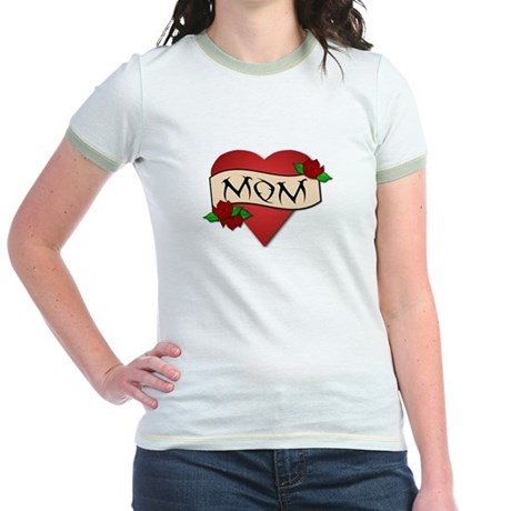Mom Tattoo Jr. Ringer T-Shirt