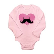 Kawaii Mustache Heart Long Sleeve Infant Bodysuit