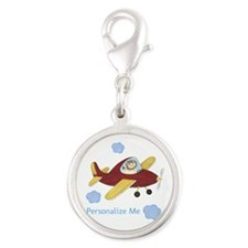 Personalized Airplane Silver Round Charm