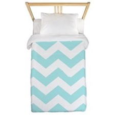 Light Turquoise and white chevrons Twin Duvet