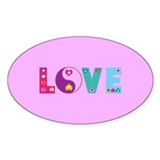 Cute LOVE with Hearts Decal