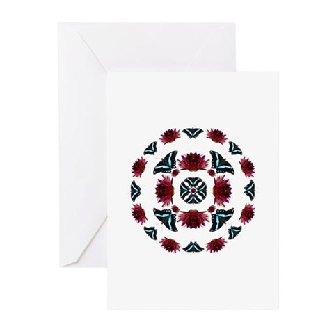 Lotus And Butterfly Greeting Cards