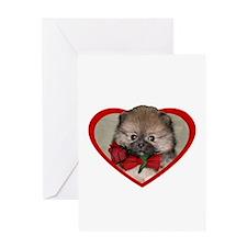 Valentines Pomeranian puppy Greeting Cards