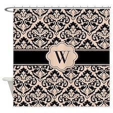 Black Tan Damask Monogram Shower Curtain