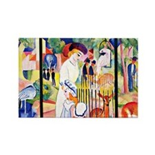 August Macke - Big Zoo, triptych Rectangle Magnet