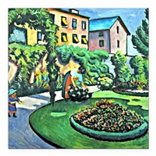"August Macke - Gartenbil Square Car Magnet 3"" x 3"""